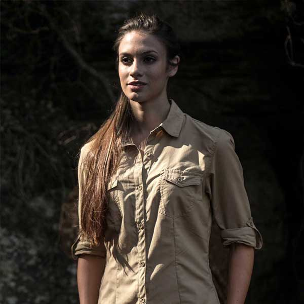 Women's Safari Shirt in colour Khaki & Style is Safari
